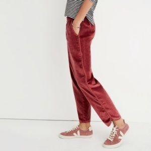 NWT Madewell Rose Velvet Track Pants